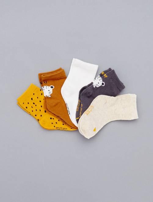 Set van 5 paar met print                                                         GRIJS Meisjes babykleding