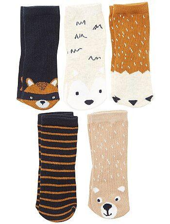 Set van 5 paar sokken in vossenthema - Kiabi