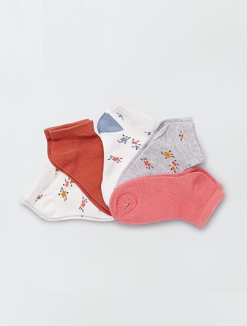 Set van 5 paar sokken met bloemenmotief                                                                             bloemen