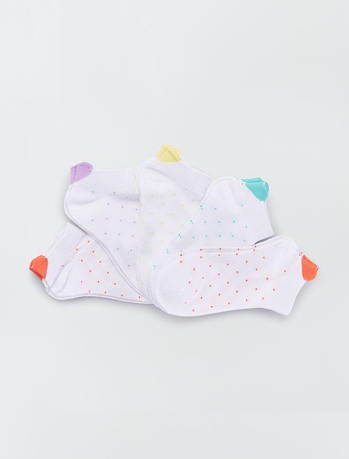Set van 5 paar sokken met bloemenmotief                                                                             ROOD