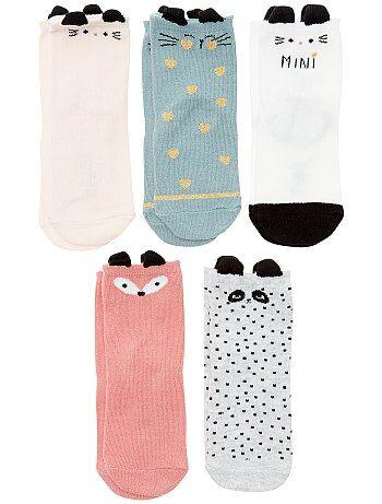Set van 5 paar sokken met dieren - Kiabi