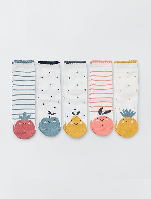 Set van 5 paar sokken met dierenprint                                         WIT