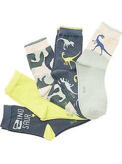 Sokken - Set van 5 paar sokken met dinosaurusprint - Kiabi