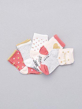 Set van 5 paar sokken met hartjesprint - Kiabi