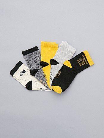 Jongenskleding 3-12 jaar - Set van 5 paar sokken met motorthema - Kiabi