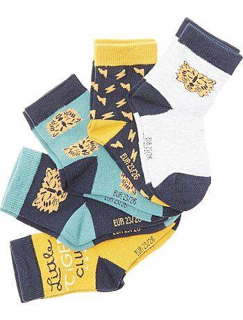 Set van 5 paar sokken met tijgerprint - Kiabi