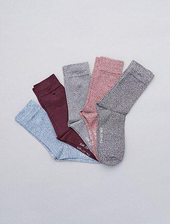 Set van 5 paar sokken van gemêleerd katoen - Kiabi