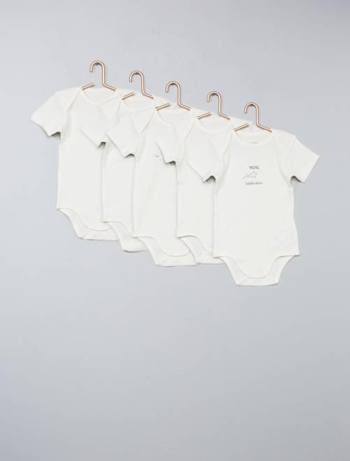 Set van 5 rompertjes van 100% katoen sneeuw wit Meisjes babykleding
