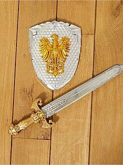 Kinder verkleedkleding - Set van een zwaard en een ridderschild