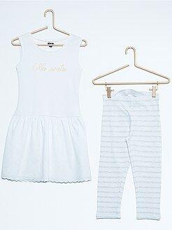 Kledingsets meisjes - Setje met een mouwloze jurk van twee stoffen en een legging