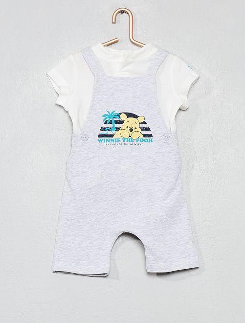 Setje met een tuinbroek en een T-shirt van 'Winnie'                                         WIT Jongens babykleding