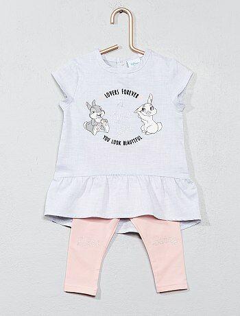 Meisje 0-36 maanden - Setje met jurk en legging van 'Miss Bunny' - Kiabi