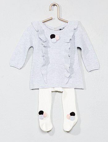 Meisje 0-36 maanden - Setje met jurk en maillot met kwastjes - Kiabi