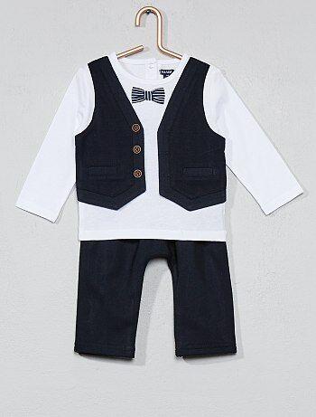 Jongen 0-36 maanden - Setje met T-shirt met 2-in-1-effect en broek - Kiabi