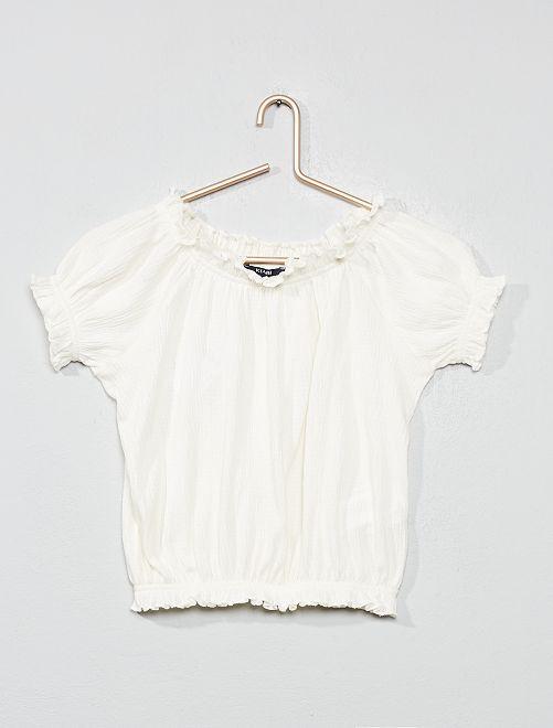 Shirt van crêpestof met bardothals                                                                                         sneeuw wit Kinderkleding meisje