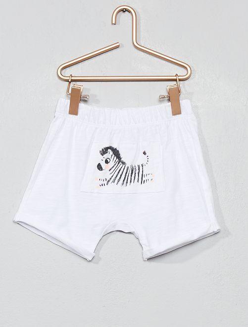 Short van gevlamd tricot met zebra                                                                 WIT Meisjes babykleding