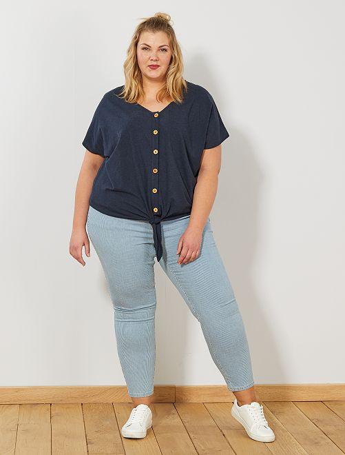 Skinny broek met hoge taille                             BLAUW Dames size+