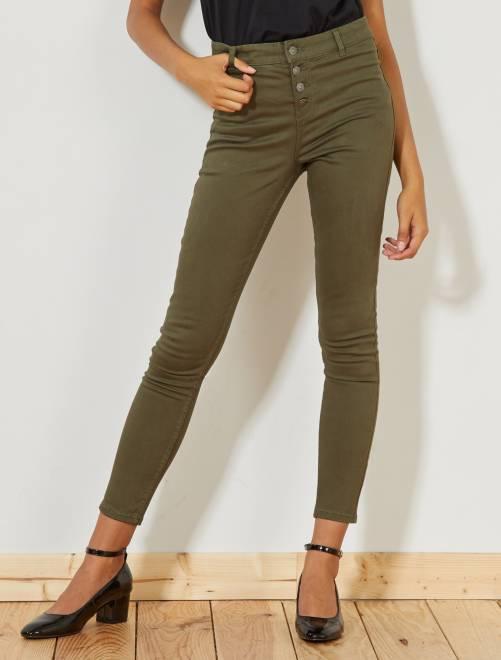 Skinny broek met knoopsluiting                                                                             KAKI Dameskleding