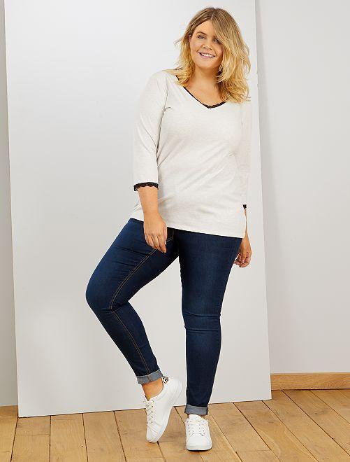Skinny jeans met 5 zakken en push-up-effect L32                                                                                         blauw Dames size+