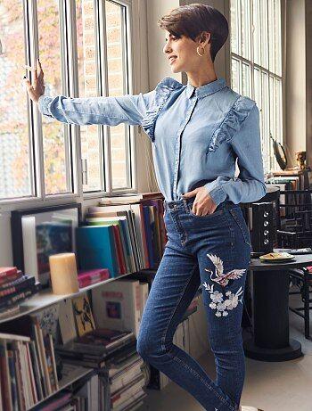 Skinny jeans met borduursels en hoge taille - Kiabi
