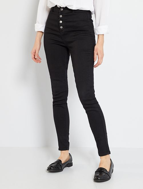 Skinny jeans met een gulp met knopen                                                                 ZWART Dameskleding