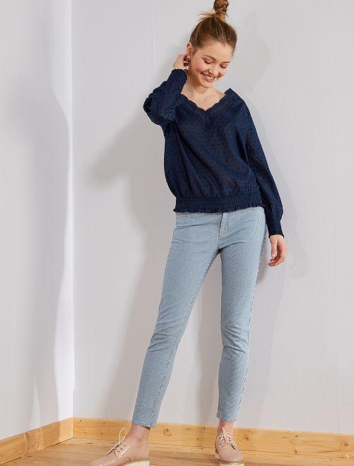 Skinny jeans met een hoge taille                             BLAUW Dameskleding