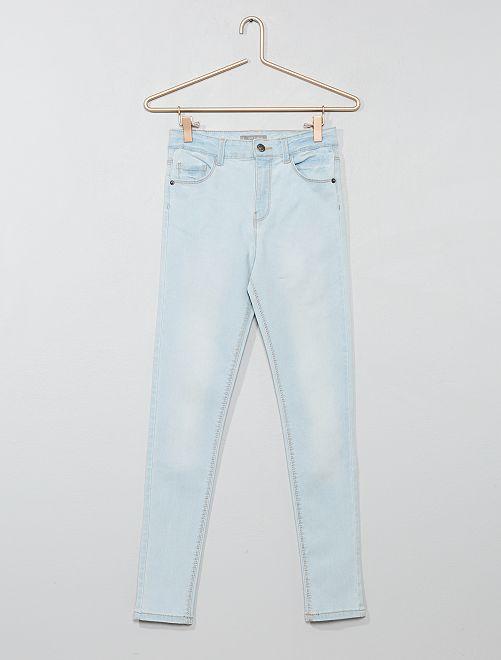 Skinny jeans met een hoge taille                                                     BLAUW