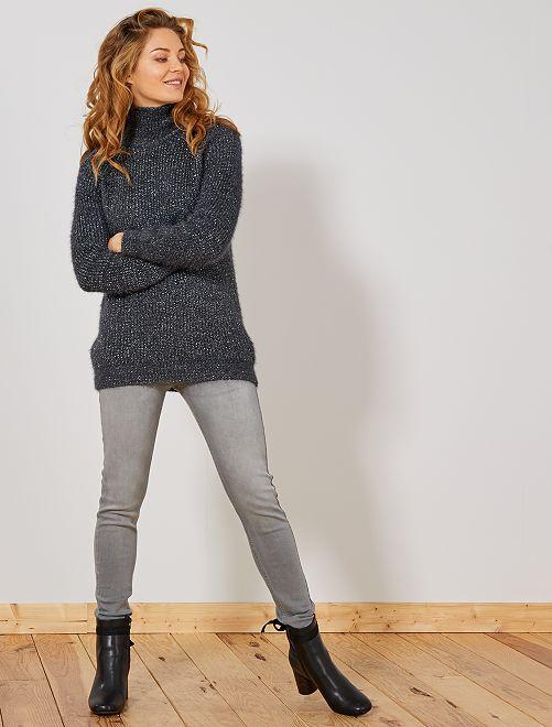 Skinny jeans met een hoge taille                                                                             GRIJS Dameskleding