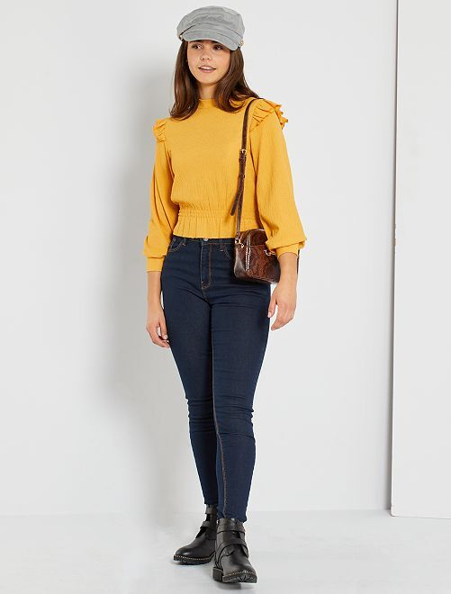 Skinny jeans met een hoge taille                                                                 raw denim