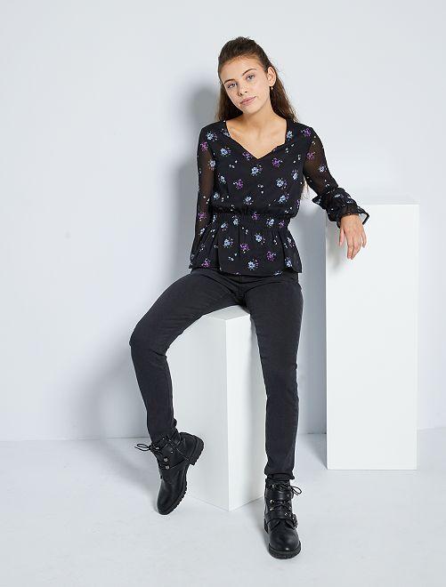 Skinny jeans met een hoge taille                                                                 ZWART