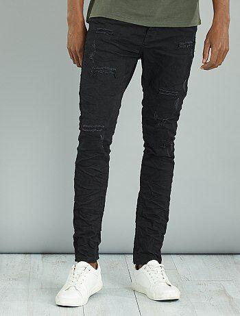 Skinny jeans met plooitjes en versleten plekken - Kiabi