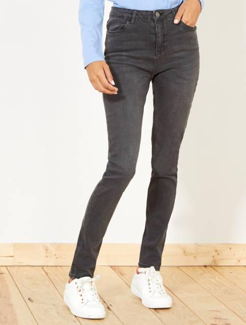 Skinny jeans met superhoge taille - Lengte US32                                                                             donkergrijs Dameskleding