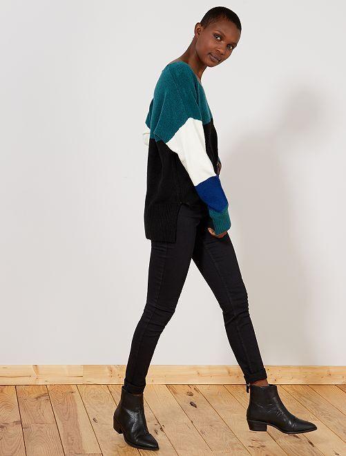 Skinny jeans met superhoge taille - Lengte US32                                                                 ZWART