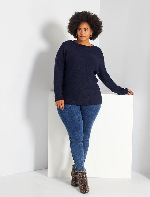 Skinny jegging van stretch denim                                                                                         BLAUW Dames size+