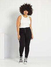 Skinny stretch jeans van denim met een hoge taille