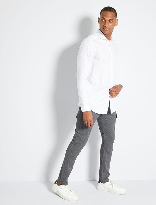 Slim-fit broek van flanel                             GRIJS