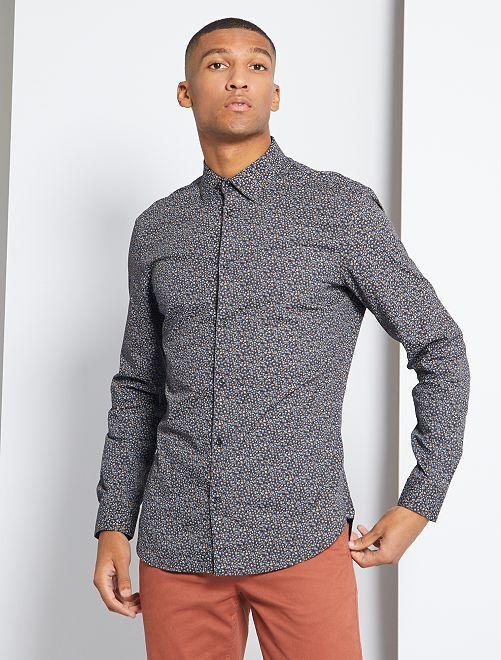 Slim-fit hemd met klein motief                                                                 GRIJS