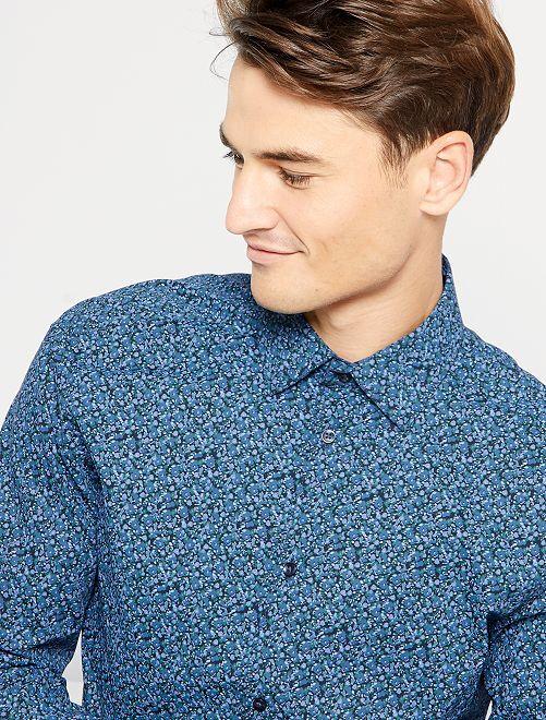 Slim-fit hemd met klein motief                                                                 ZWART