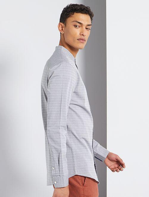 Slim-fit hemd met maokraag                                                     grijs
