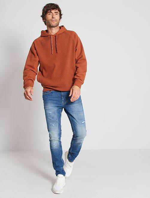 Slim-fit jeans met scheurtjes L30                             BLAUW
