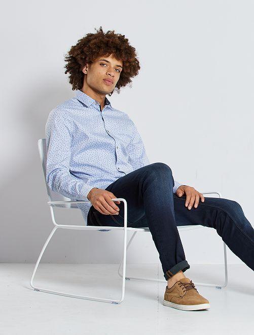 Slim-fit overhemd met micromotief                                         BLAUW