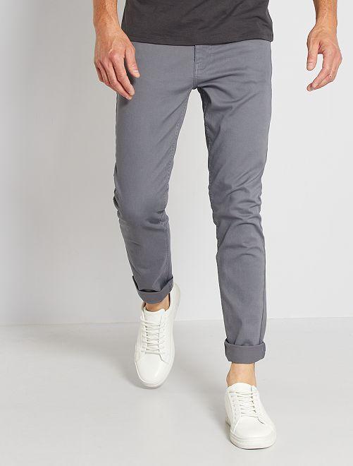 Slimfit 5-pocket broek van twill                                                                                             GRIJS