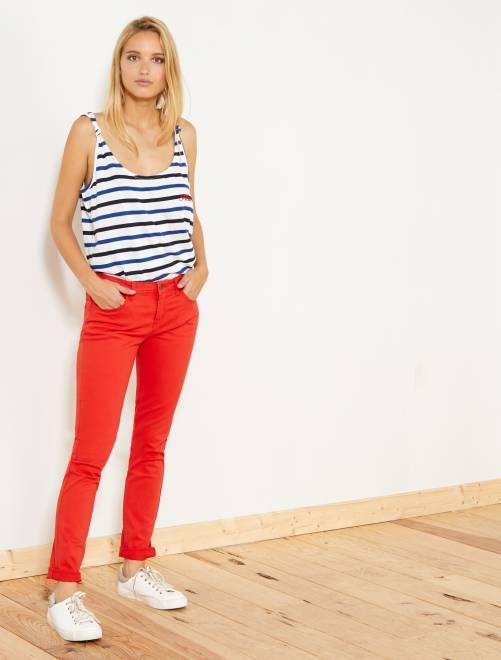 Slimfit 5-pocket stretch broek                                                                                                                                         rood Dameskleding