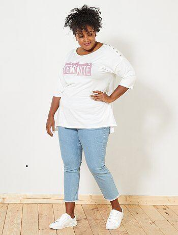 Slimfit 7/8 jeans met rafels - Kiabi