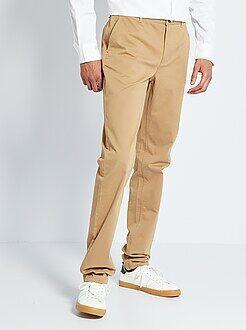 Heren tall (> 190cm) - Slimfit chinobroek van 100% katoen L38 1,90+ - Kiabi