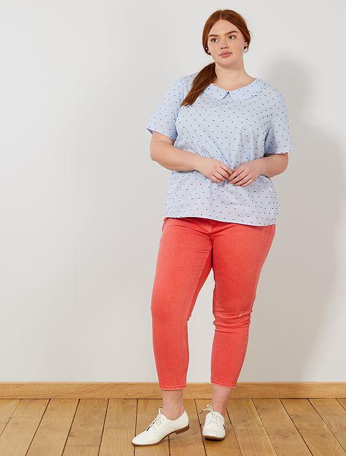 Slimfit destroy jeans                                         rood koraal Dames size+