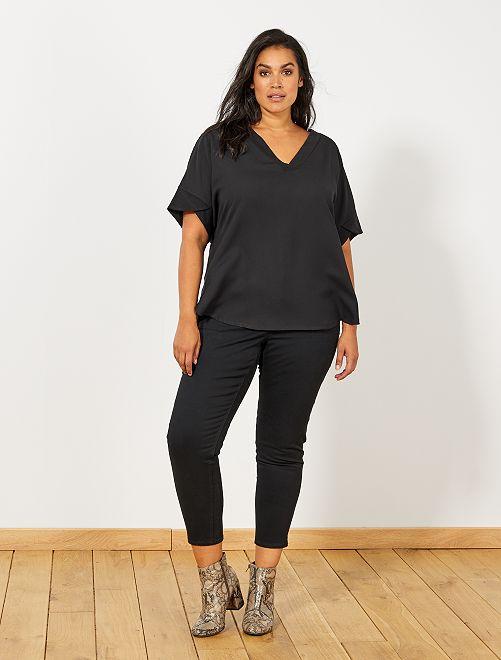 Slimfit driekwartbroek met 4 knopen                                                                                         zwart Dames size+