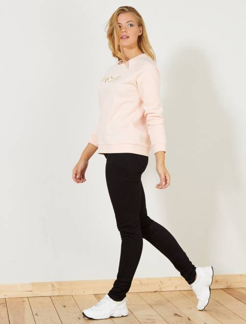 Slimfit jeans met een hoge taille                                                     black denim Dameskleding