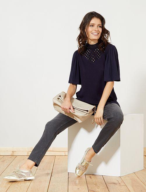 Slimfit jeans met een hoge taille                     donkergrijs