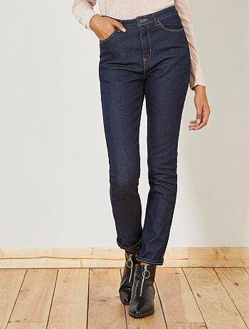 Slimfit jeans met hoge taille gevoerd met fleece - Kiabi